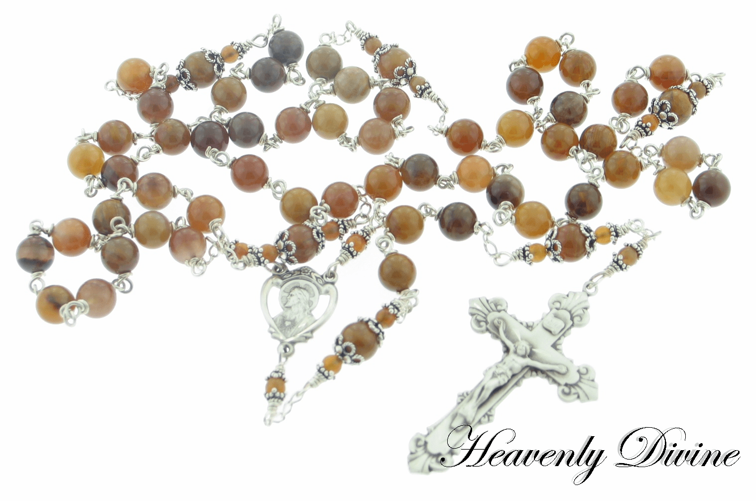 <b> Handmade Wooden Agate Sterling Silver Wire Wrapped Rosary </b>