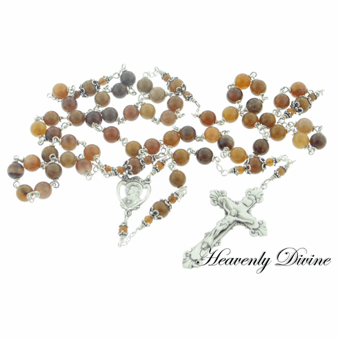 Handmade Wooden Agate Sterling Silver Wire Wrapped Rosary