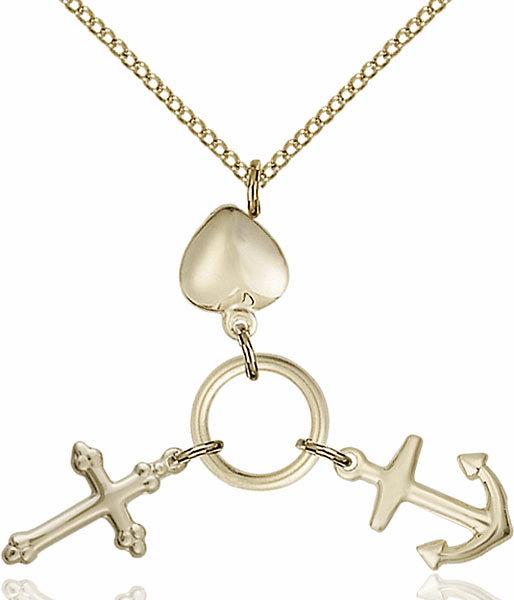 Heart Anchor and Cross 14kt Gold-Filled Medal Necklace by Bliss Manufacturing