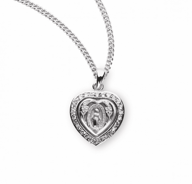Heart Miraculous Medal Pink  Sterling Silver Pendant Necklace