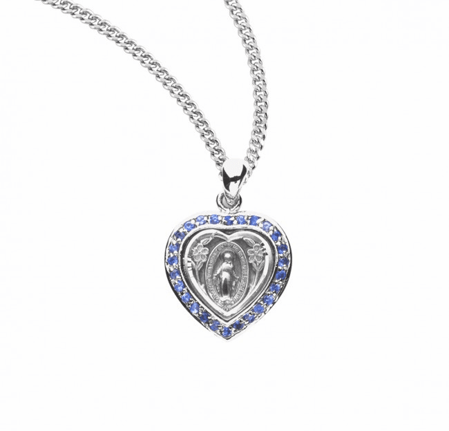 Heart Miraculous Medal Sapphire Cubic Zirconia Sterling Silver Necklace