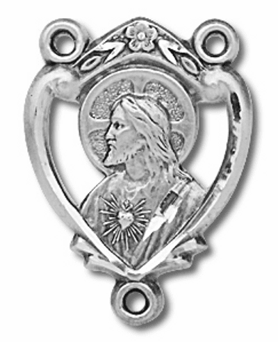 Heart Sacred Heart of Jesus Sterling Silver Center Rosary Part by HMH Religious