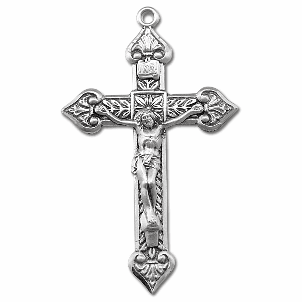 Heart Shaped Edge Sterling Silver Crucifix Rosary Part by HMH Religious
