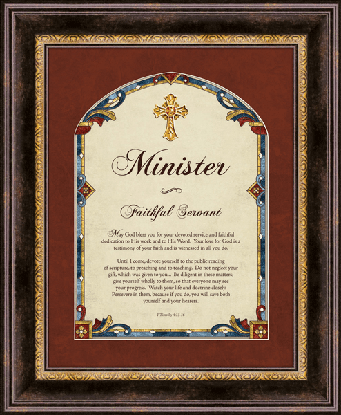 Heartfelt Cross Minister I Timothy 4:13-16 Framed Wall Art Picture