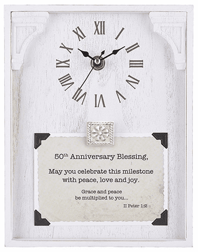 Heartfelt LoveLea 50th Anniversary II Peter 1:2 White Framed Tabletop Clock