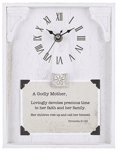 Heartfelt LoveLea A Godly Mother Proverbs 31:28 White Framed Tabletop Clock