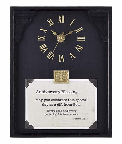 Heartfelt LoveLea Anniversary Blessing James 1:17 Black Framed Tabletop Clock