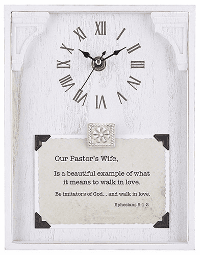 Heartfelt LoveLea Our Pastor's Wife Ephesians 5:12 White Framed Tabletop Clock