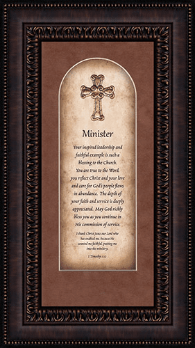 Heartfelt Minister with Verse Framed Wall Art Picture