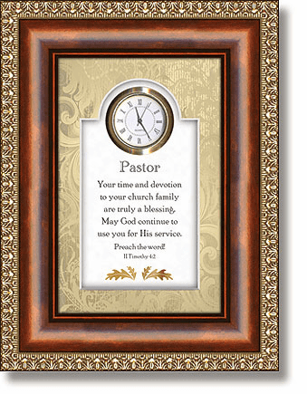 Heartfelt Pastor 2 Timothy 4:2 Clock 3D Wall Clock Framed Picture
