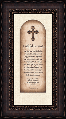Heartfelt Pastor Appreciation Faithful Servant Framed Wall Art Picture