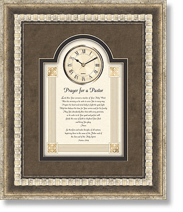 Heartfelt Pastor's Prayer 3D Wall Clock Christian Verse Framed Picture