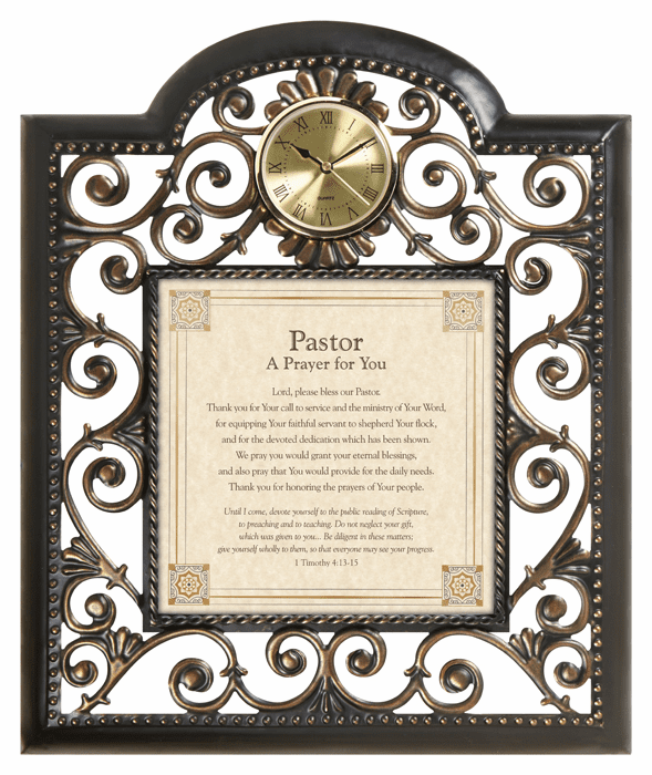 Heartfelt Pastor's Prayer Metal Wall Clock Picture