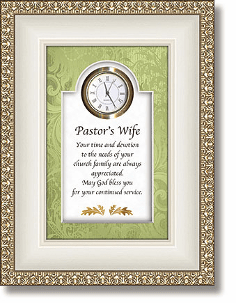 Heartfelt Pastor's Wife Clock w/Christian Verse Picture
