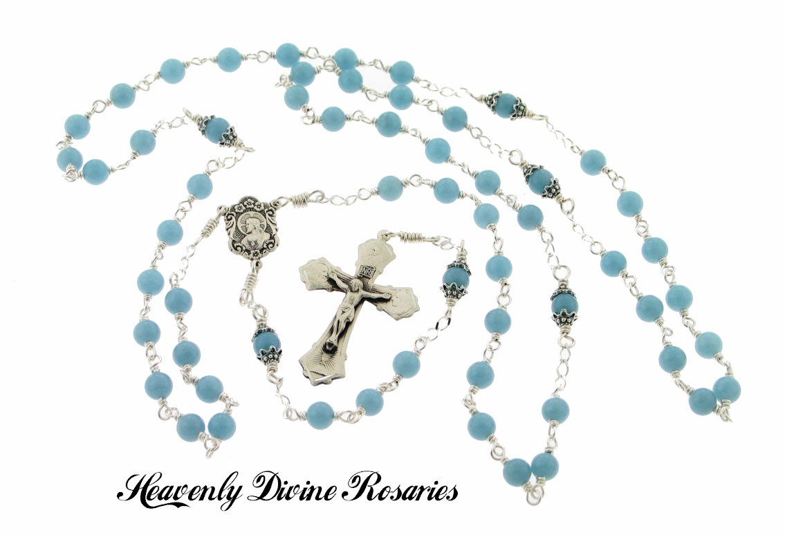 Heavenly Divine Blue Angelite Holy Family Wire-Wrapped Sterling Silver Rosary