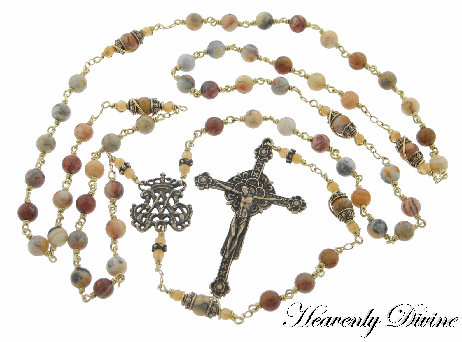 Heavenly Divine Bronze & Gold-filled Five-Decade Rosaries