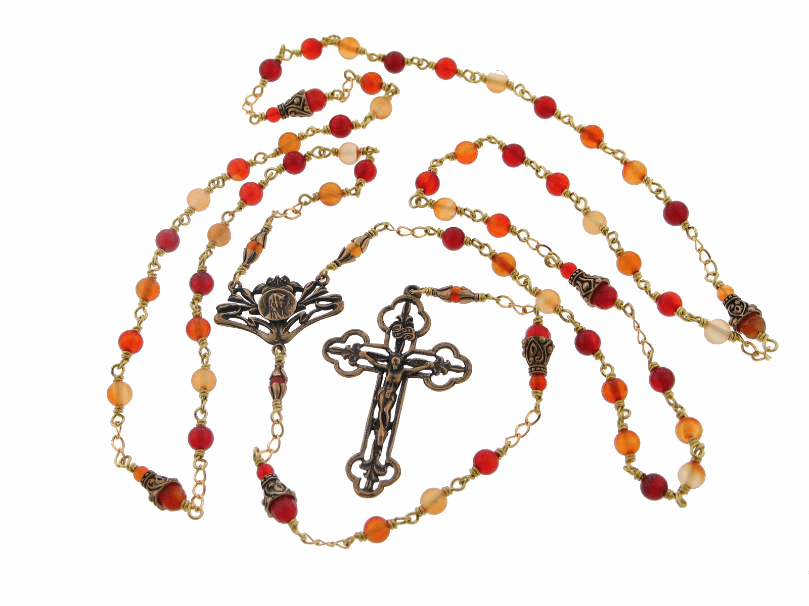 Heavenly Divine Mary with Lilies Red Agate Bronze Wire Wrapped Rosary