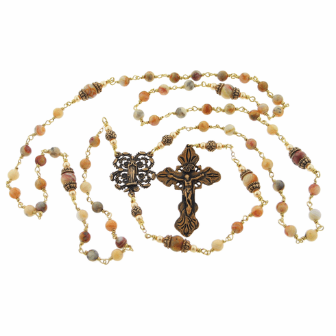 Heavenly Divine Praying Madonna Crazy Lace Agate Wire Wrapped Rosary