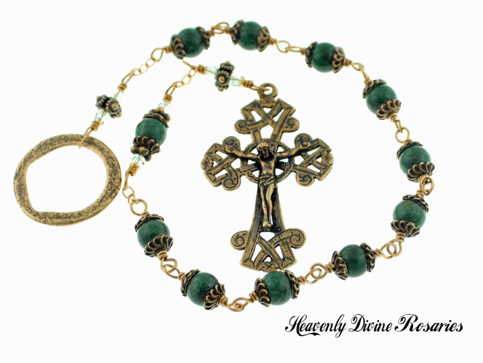 Heavenly Divine Rosaries Bronze Wire-wrapped African Green Jade Irish Celtic Penal Rosary