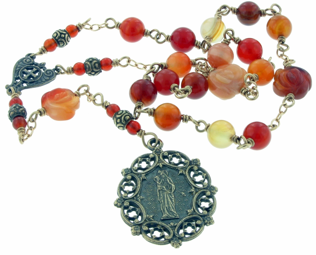 Heavenly Divine St Anne Bronze Wire-Wrapped 18 Bead Prayer Chaplet