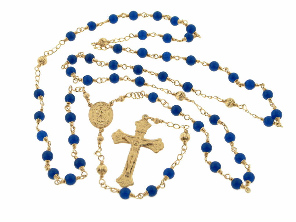 Heavenly Divine St Michael Gold-filled Wire-Wrapped Rosary