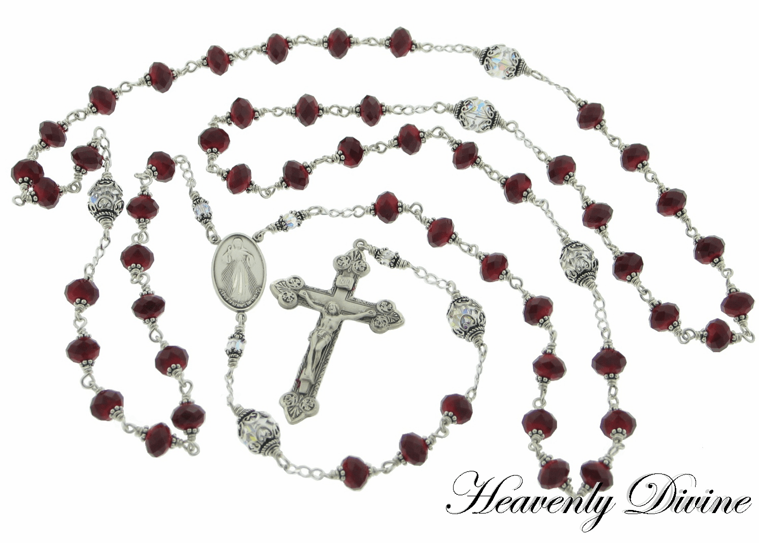 Heavenly Divine Sterling Silver Five Decade Wire-Wrapped Rosary