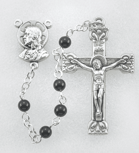 Hirten 4mm Black Onyx Round Gemstone Bead Rosary
