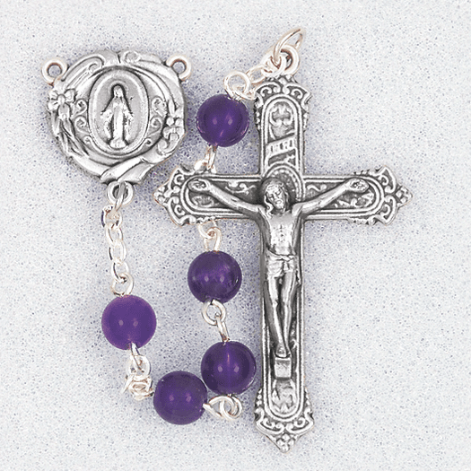 Hirten 6mm Amethyst Round Gemstone Bead Prayer Rosary