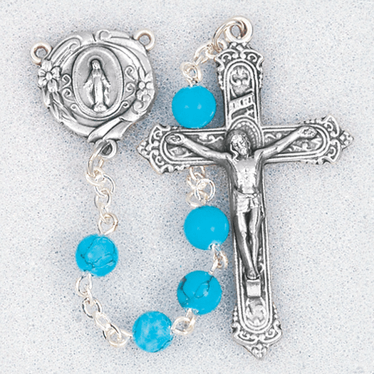 Hirten 6mm Turquoise Howlite Round Gemstone Bead Prayer Rosary