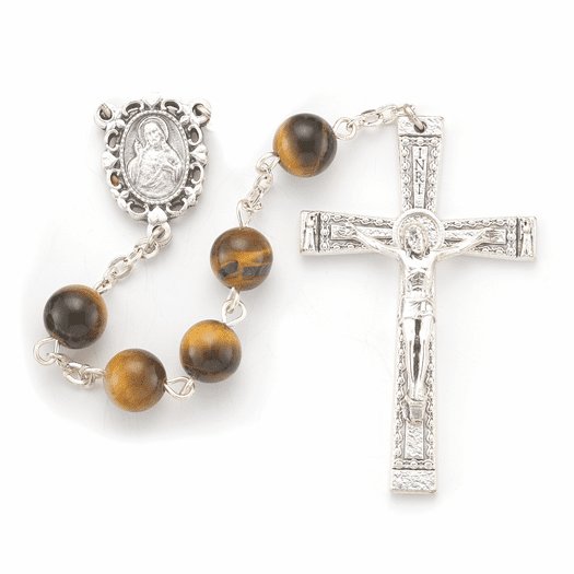 Hirten 8mm Tiger Eye Genuine Round Stone Bead Rosary