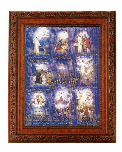 Hirten Apostles Creed Detailed Ornate Antique Mahogany Finished Framed Picture