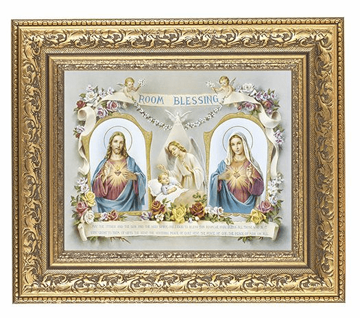 Hirten Baby Room Blessing Detailed Ornate Gold Leaf Antique Framed Picture