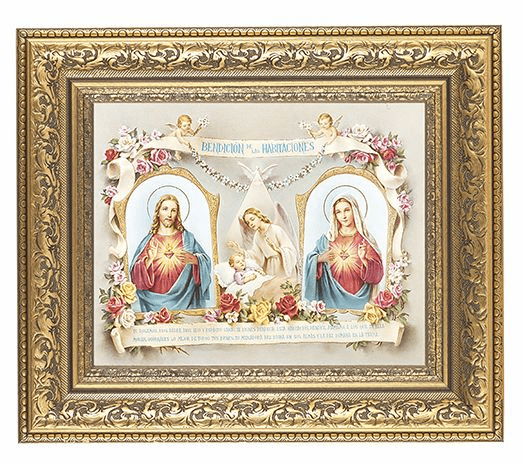 Hirten Baby Room Spanish Blessing Detailed Ornate Gold Leaf Antique Framed Picture