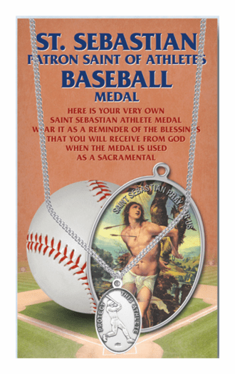 Hirten Baseball Male St Sebastian Athlete Sports Necklace with Prayer Card