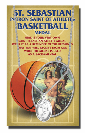 Hirten Basketball Female St Sebastian Athlete Sports Necklace with Prayer Card