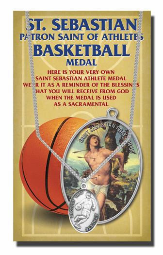Hirten Basketball Male St Sebastian Athlete Sports Necklace with Prayer Card