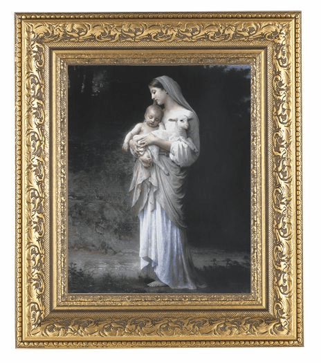 Hirten Bouguereau Divine Innocence Detailed Ornate Gold Leaf Antique Framed Picture