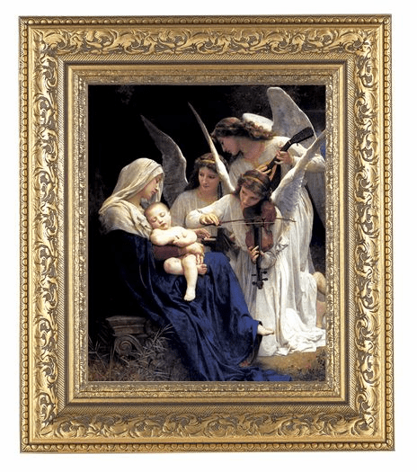 Hirten Bouguereau Heavenly Melodie Detailed Ornate Gold Leaf Antique Framed Picture