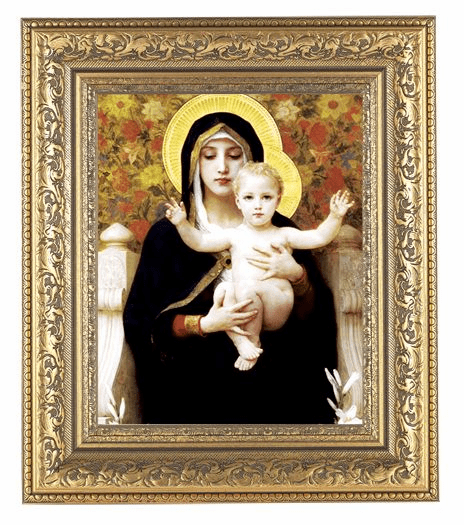 Hirten Bouguereau Madonna of the Flowers Detailed Ornate Gold Leaf Antique Framed Picture