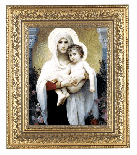 Hirten Bouguereau Madonna of the Roses Detailed Ornate Gold Leaf Antique Framed Picture