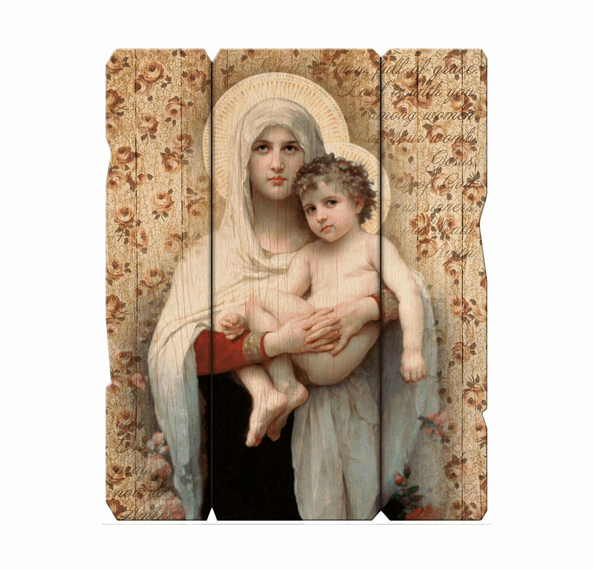 Hirten Bouguereau Madonna of the Roses Vintage Wall Plaque