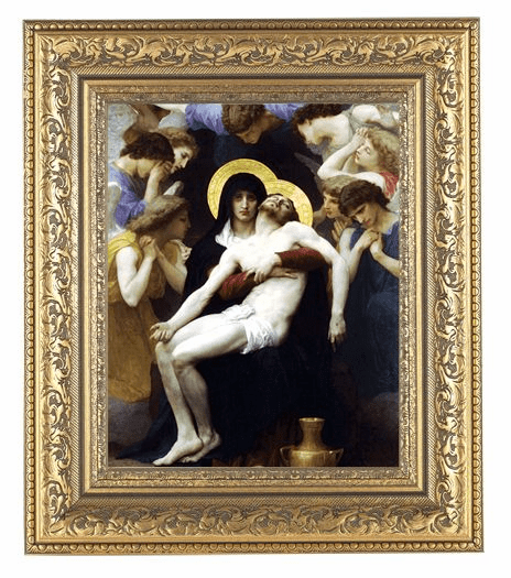 Hirten Bouguereau Pieta Detailed Ornate Gold Leaf Antique Framed Picture