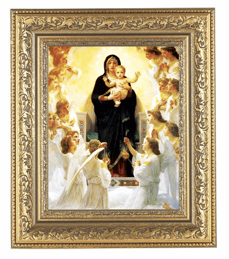 Hirten Bouguereau Queen Angels Detailed Ornate Gold Leaf Antique Framed Picture