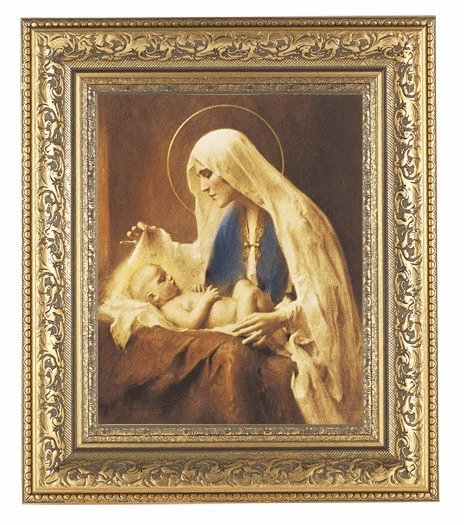 Hirten Chambers Madonna and Chlid Detailed Ornate Gold Leaf Antique Framed Picture