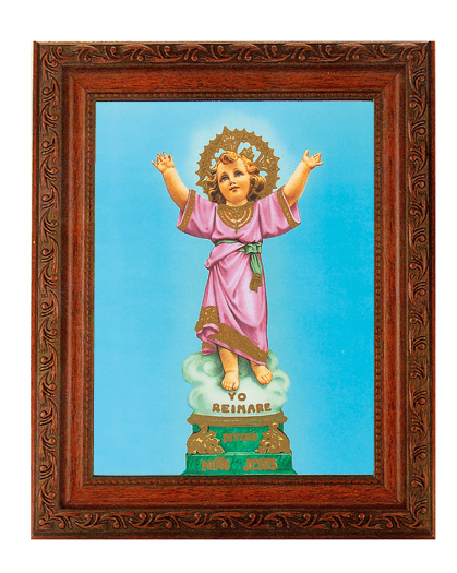 Hirten Child Jesus Divino Nino Detailed Ornate Antique Mahogany Finished Framed Picture