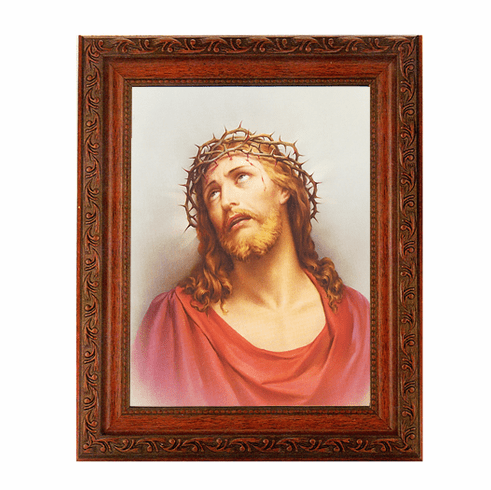 Hirten Christ in Agony Crown of Thorns Ornate Mahogany Framed Picture