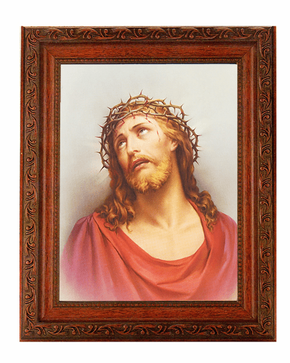Hirten Christ in Agony Crown of Thorns Detailed Ornate Antique Mahogany Finished Framed Picture