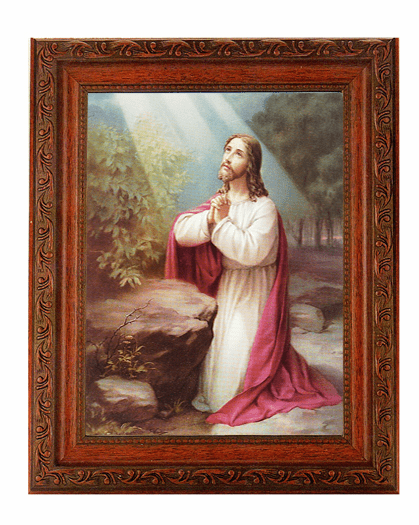 Hirten Christ on Mount Olives Detailed Ornate Antique Mahogany Finished Framed Picture