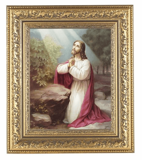 Hirten Christ on Mount Olives Detailed Ornate Gold Leaf Antique Framed Picture