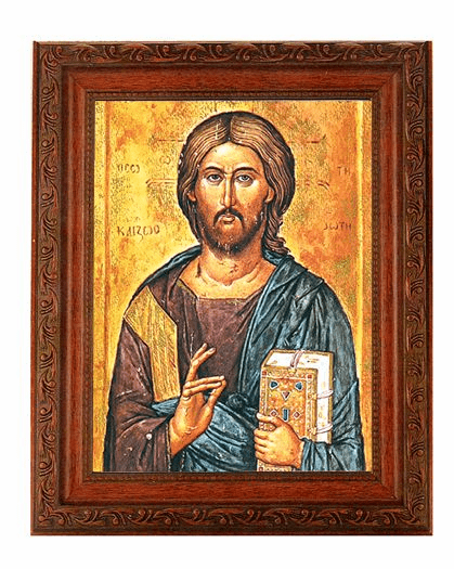 Hirten Christ the Teacher Detailed Ornate Antique Mahogany Finished Framed Picture